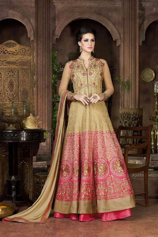 Fancy Silk Heavy Embroidered jari and stone work Semi Stiched Salwar Kameez