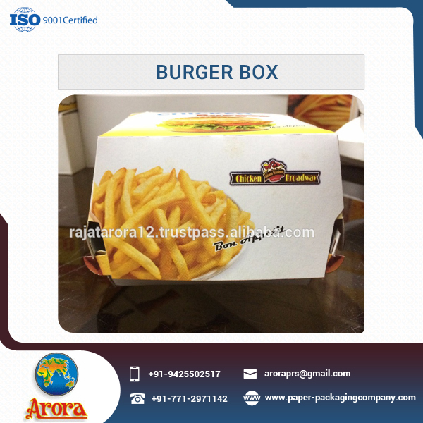 Different Color Take Away Paper Burger Box for Burger Packing