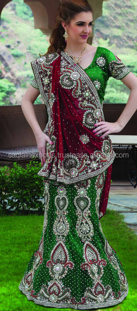 Stylish Elegant Bridal Lehenga Dress Beautiful Designer Mermaid Style Indian Wedding Gown Lehnga Green & Maroon Red Bridal Gown
