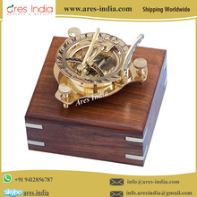"Best Designed Golden Color 3"" Brass Sundial Compass with Wooden Box"
