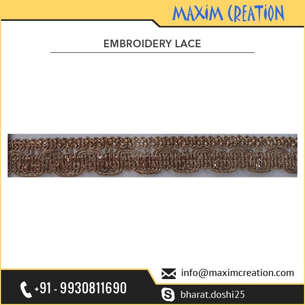 Brown Border Embroidery Lace with Trimmings Available from Best Indian Company