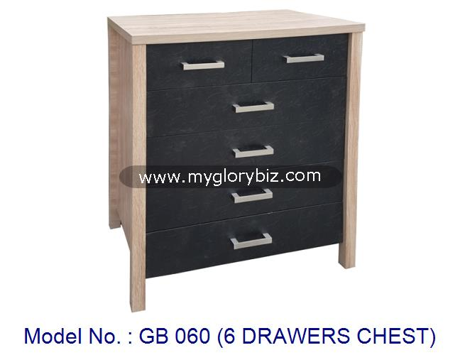 Wooden 6 Drawers Chest For Home Multifunctional Drawer Storage Cabinet In Simple Design Double Color Combine Stylish Look