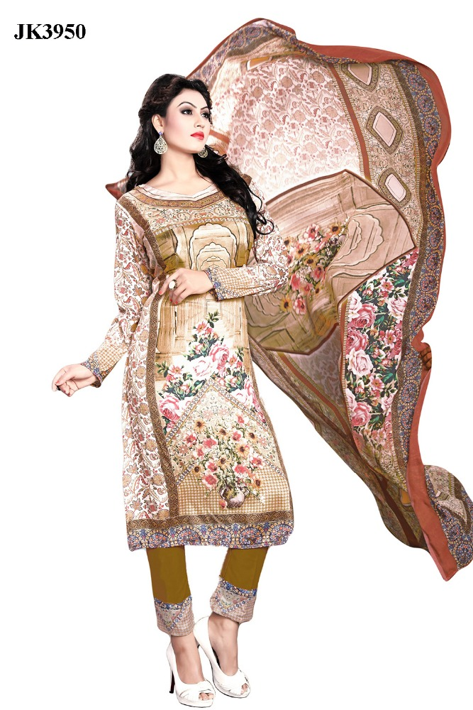 Latest Digital Print Work Formal wear Un Stitched Resham Crepe Pakistani Style Salwar Kameez