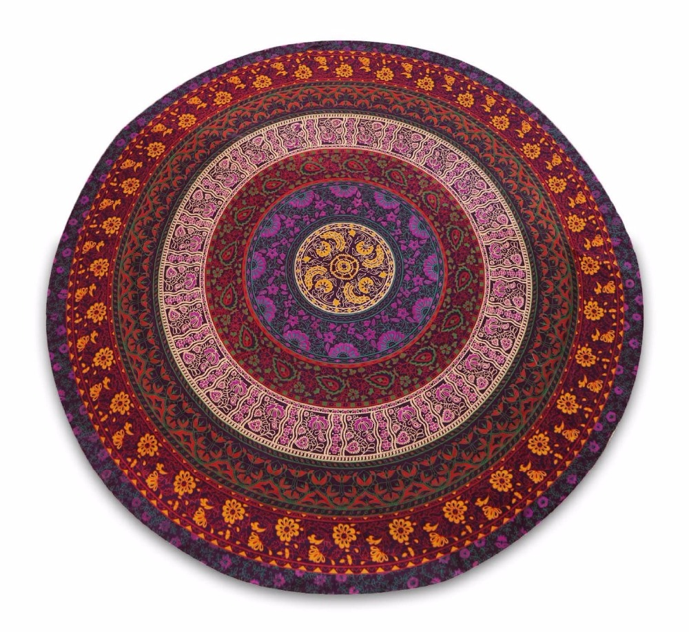 "Small Hippie Tapestry,Mandala Bohemian Indian Dorm Decor, Round Tapestry Wall Hanging Ethnic 48"" Inch"