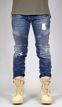 New model jean ripped motor motorcycle denim skinny biker trousers