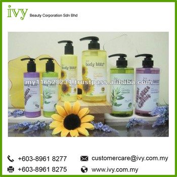 Ivy Body Blitz Shower Cleanser & Body Essence Bath Shower Gel Privale Label for all Hotel Industries Manufacturing from Malaysia