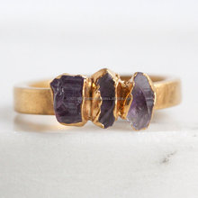 Stacking Stackable Raw Rough Amethyst Purple Stone Ring Gemstone