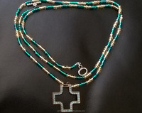 Turquoise and Gold Belly Chain with Gold Cross Charm