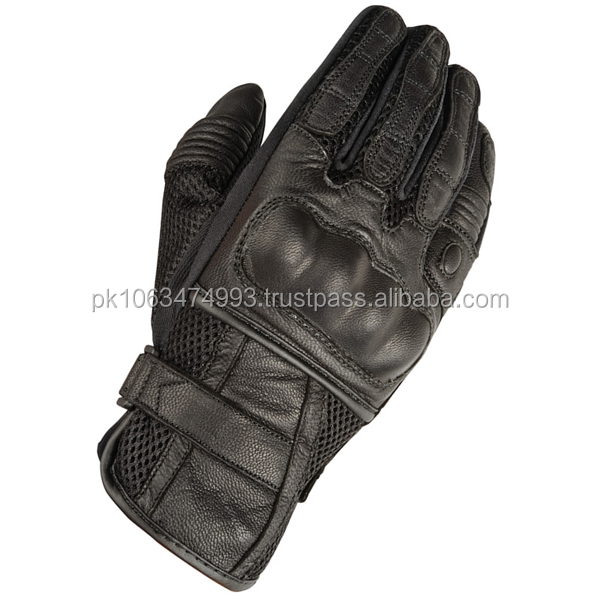 BLACK LEATHER BREATHABLE MOTORCYCLE CRUISER MOTORBIKE GLOVES