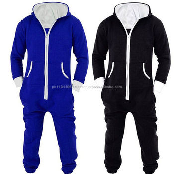 Adults Unisex Onesies Pyjamas Mens Women Cotton Pajamas Sleepwear Onesies Sleepsuit BlackBlue