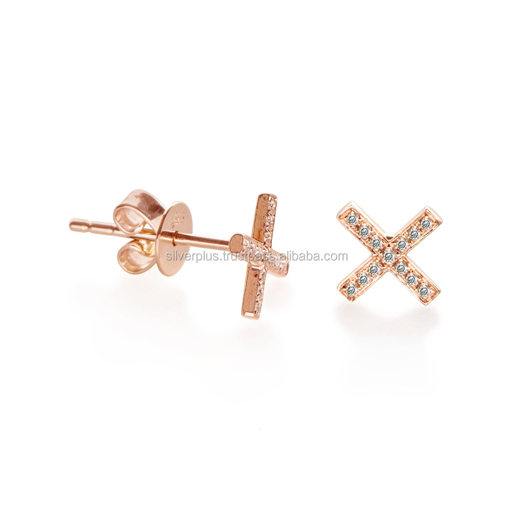 14k Rose Gold H Color SI Diamond 10 mm XX Stud Earrings, Available in 3 Color Gold