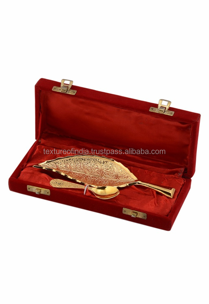 Indian Handicrafted Decorative Gold Plated Leaf Shape Serving Bowl And Spoon For Christmas Gift