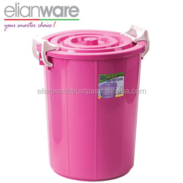 16 Gallon Plastic Pail Bucket with Lid and Lock Handle