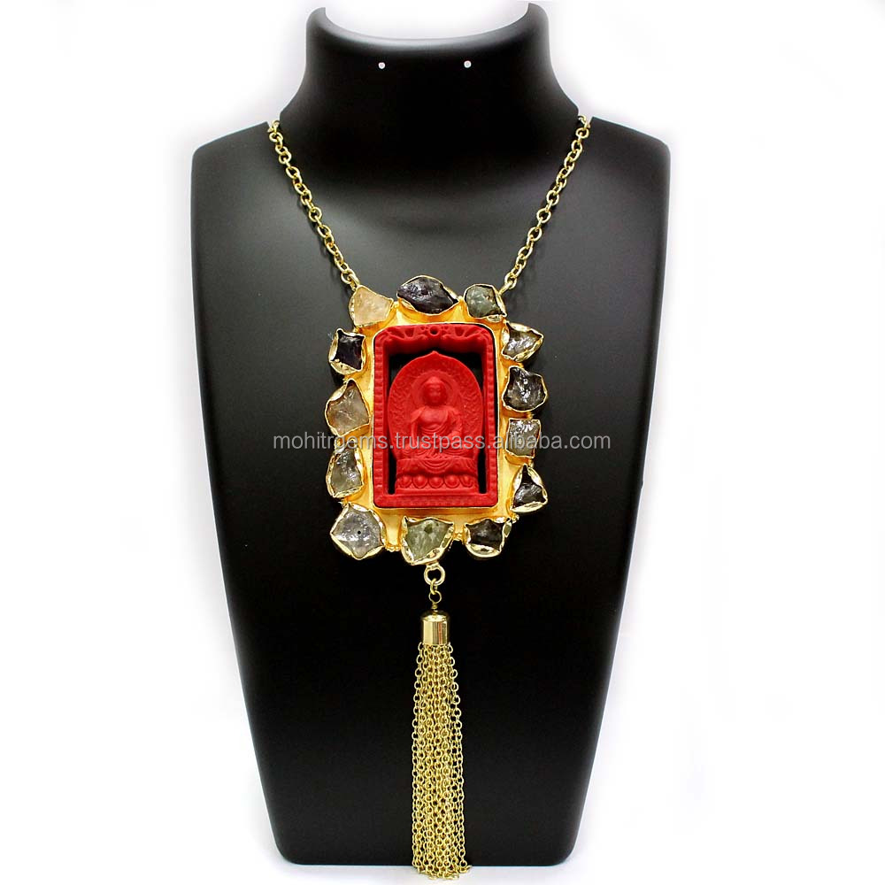 Lord Buddha Carving Surriunded With Rough Stone As Tassel At Bottom Handmade Vintage Necklace