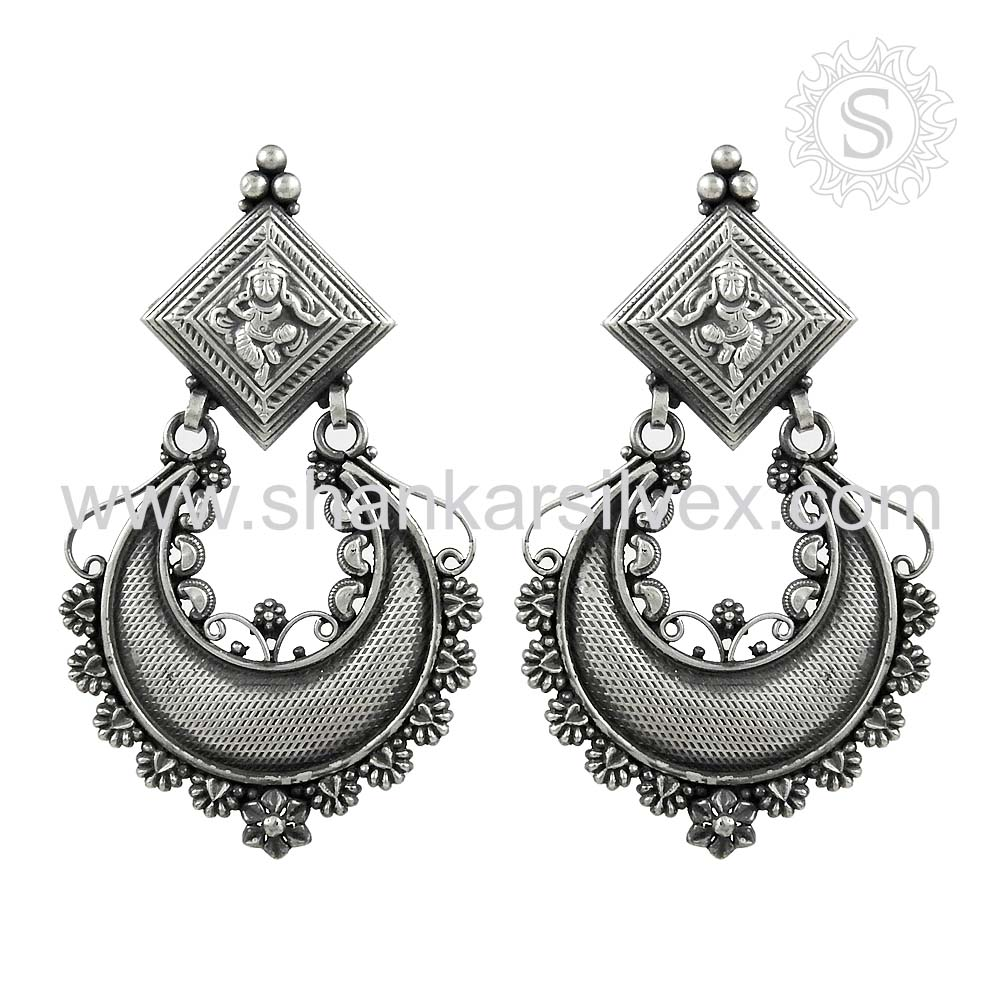 High Quality Traditional Design Wholesale 925 Sterling Silver Earring Competitive Price Indian Silver Jewelry