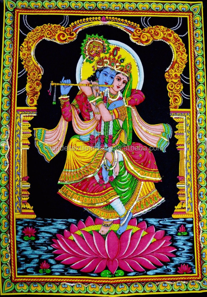 Lord Krishna & Radha Indian Deity Sequin Batik art Wall decor cotton Tapestry Wall Hanging Good luck charm Ethnic Wholesale lot