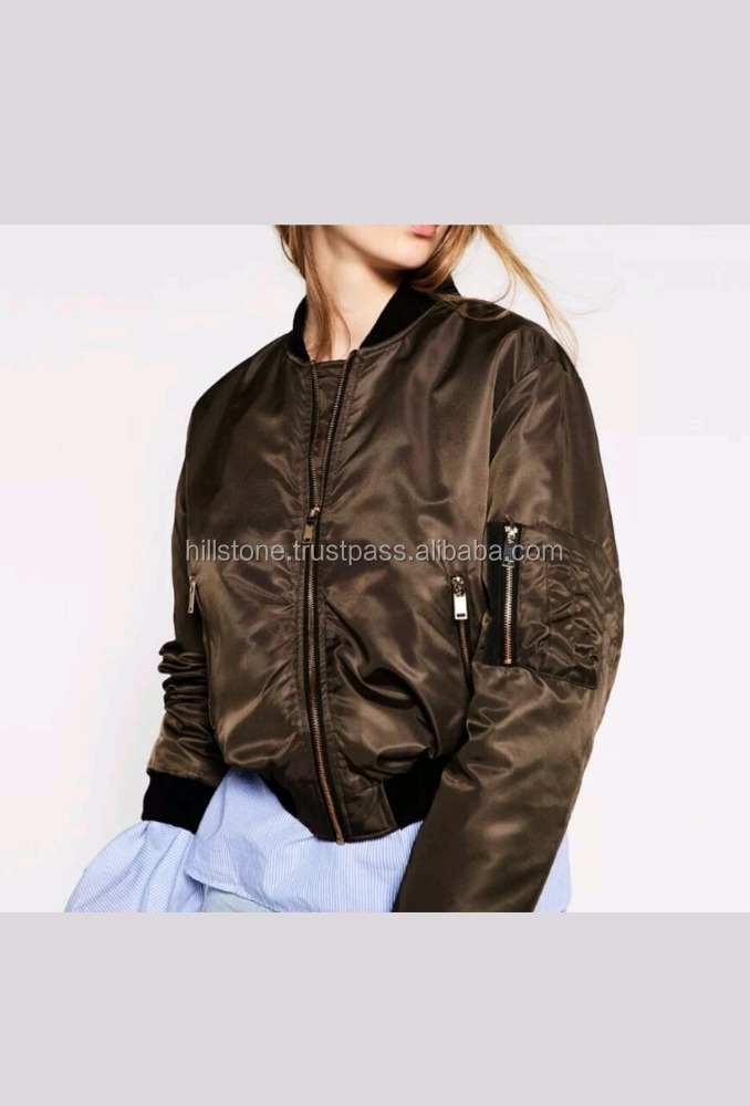 OEM high quality comfortable soft polyester plain contrast color slim ladies satin bomber jacket
