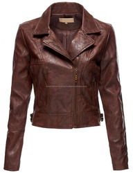 Women's Sexy Leather Zip Up Long Sleeve Moto Crop Jackets