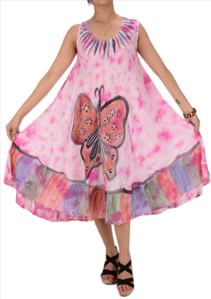 WOMEN NEW TIE N DYE EMBROIDERED SLEEVELESS DRESS RAYON BUTTERFLY CAFTAN