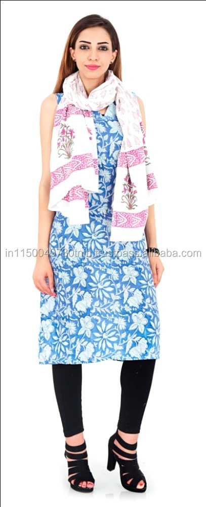 HOT Bollywood Indian Woman Tunic Kurti Pure Cotton Top Hand Block Printed Kurta