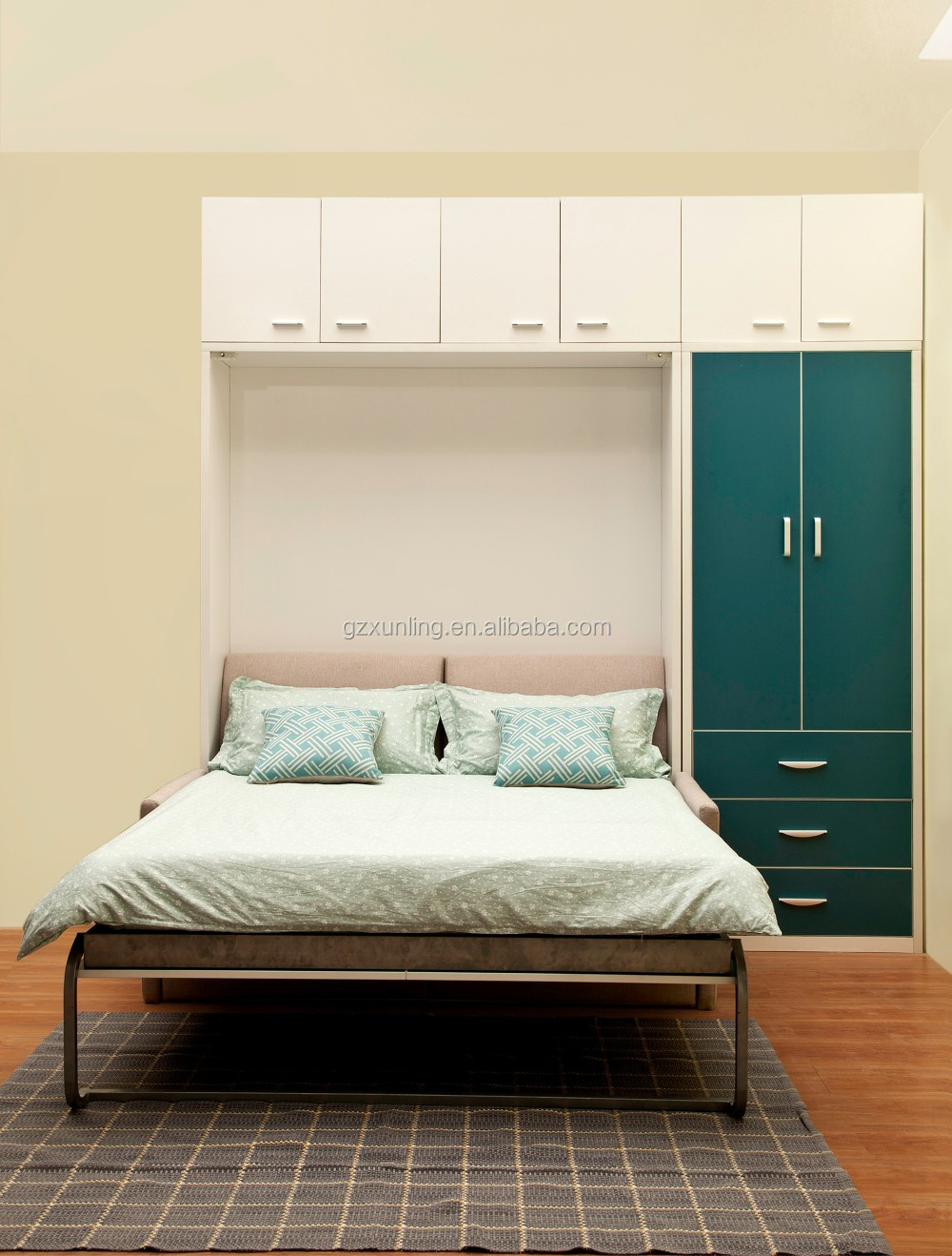 saving space double murphy wall bed with front sofa and