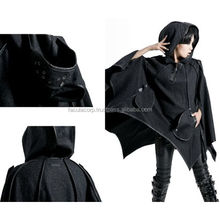 Black Gothic Wool Hooded Gothic Night Bat Cloak Clothing Men Women FC-2268