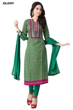 Women's Green Colour Karachi Style Straight Cut Salwar Kameez / Daily Wear Salwar Suit / Casual Work Wear Dress Material / Pakis