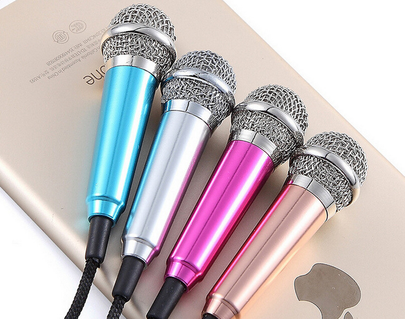 Top sale new 3.5mm USB stereo condenser mini microphone speaker for Mobile Phone Sing Song Karaoke Microphone