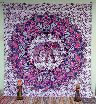 Hippie Elephant Mandala Bedspread Ethnic Throw Art India Gift Indian Tapestry Wall Hanging