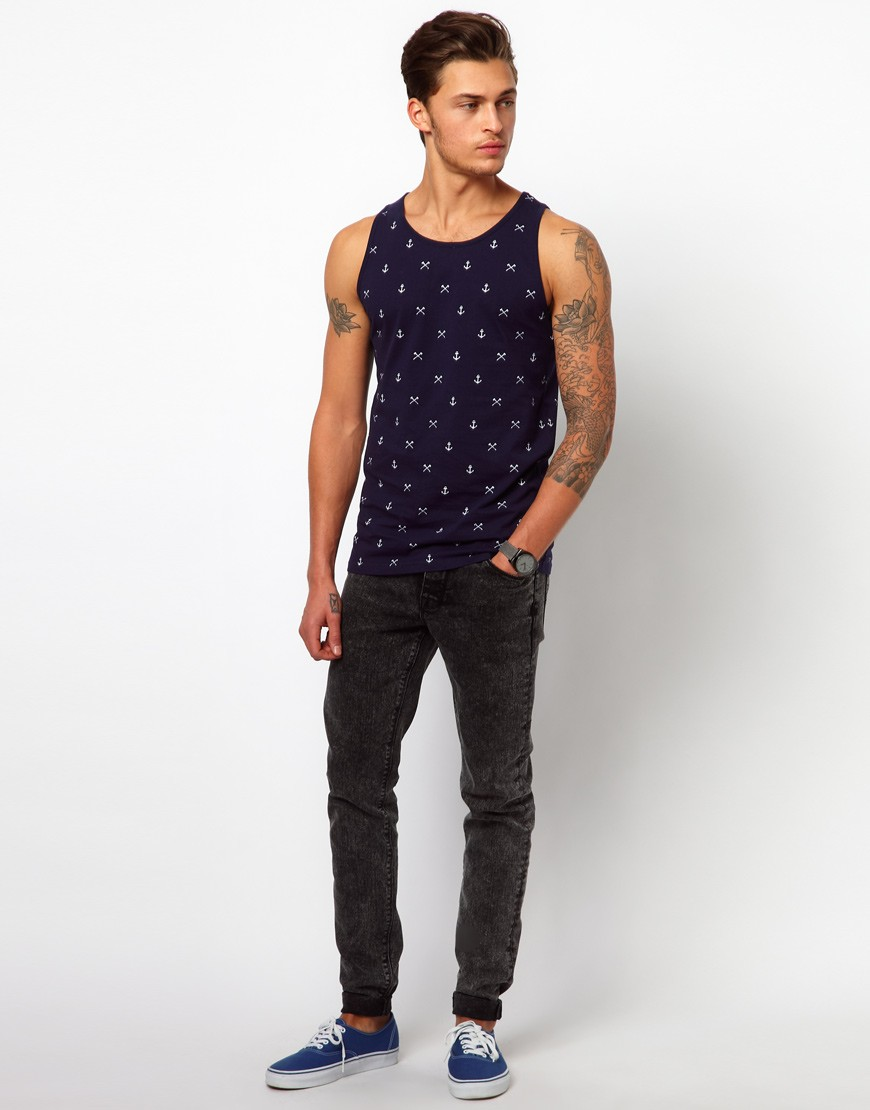 anchor print pattern throughout vests