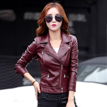 2017 Slim Ladies Red leather jacket short design motorcycle leather jackets