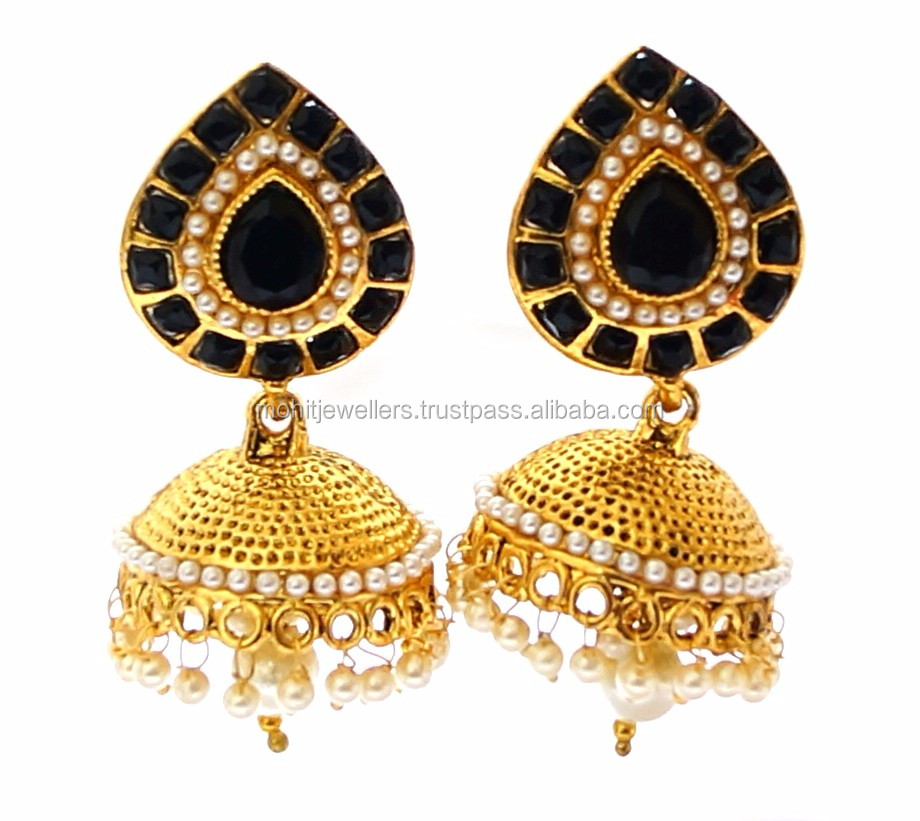 indian style big jhumka earrings