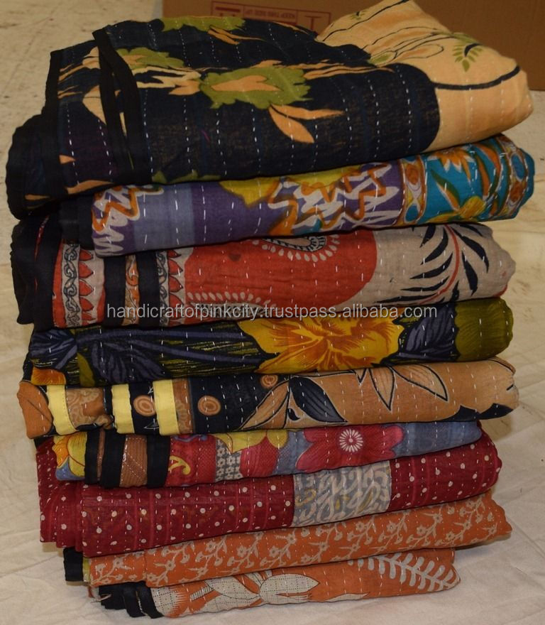 Wholesale Lot of Kantha Quilt Indian Vintage Reversible Throw Handmade Blanket SSTH54