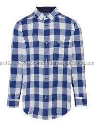 Mens Blue White Check Dress Shirt