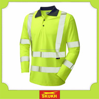 Wholesale High Visibility Long Sleeve Men's Reflective Safety Green Polo Shirts,Customize polo shirts