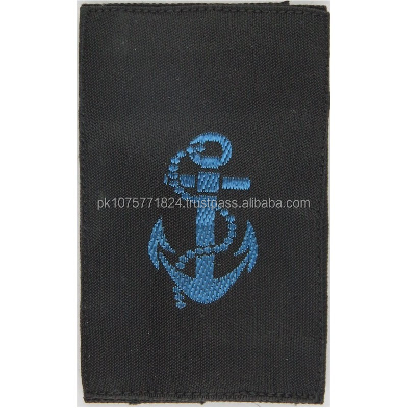 WOVEN BADGES WRNS Leading Rate Slip-On Rank Slide Blue On Black Embroidered Naval Branch, rank or miscellaneous