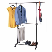 Tatkraft SATURN Two-level Garment Rack Clothes Rail Clothes Rack on Wheels with Extensible Rods