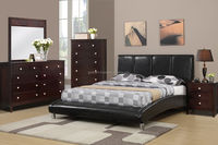 Black Faux Leather Queen Size Platform Style Bed Frame/ Double size wooden beds with high quality mattress