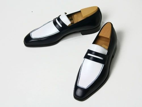 Handmade mens leather shoes, Men black and white color real leather moccasin
