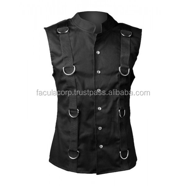 2016 Gothic black Gothic ring vest 2015 black denim cotton material FC-5310