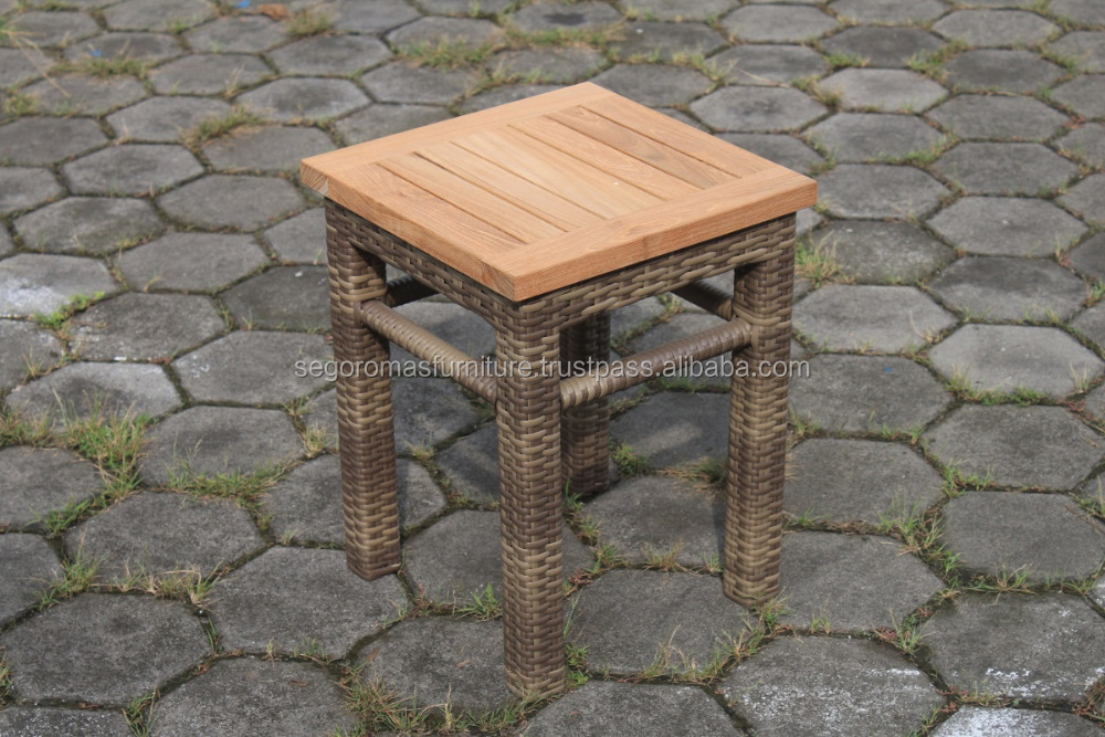 Thalin Stool - High Quality teak wood and synthetic rattan Viro