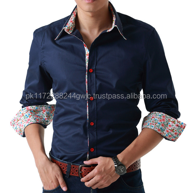 men casual new model slim fit top selling double collar shirt designs
