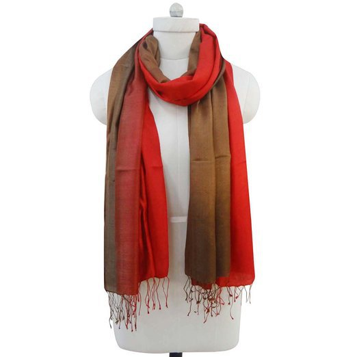 Long Red Brown Scarf Silk Wool Tassel Scarf Head Wrap Hijab Pashmina Stole BSH1101