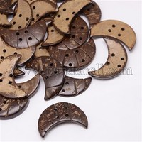 Ethnic Garment Accessories Wood Findings 4-Hole Coconut Sewing Buttons, Dyed, Crescent Moon, CoconutBrown BUTT-O002-A02