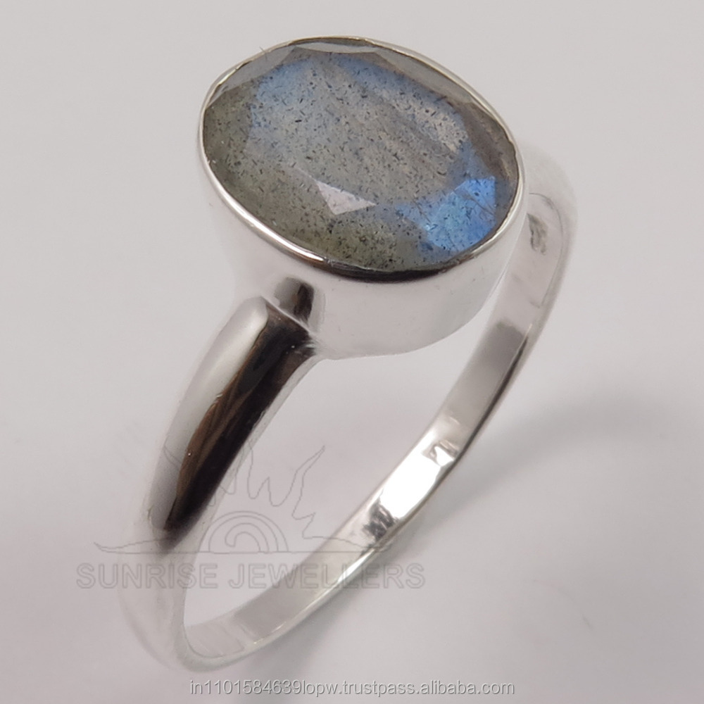 Wholesale Price 925 Solid Sterling Sliver Natural LABRADORITE Oval Faceted Gemstone Amazing Ring Every Sizes Hot Fashion