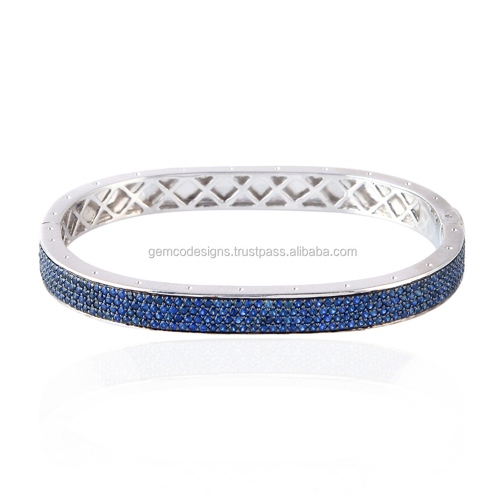 925 Sterling Silver Designer Blue Sapphire Pave Bangle Christmas Jewelry