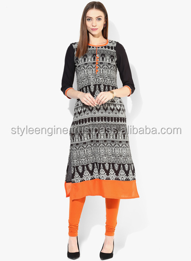 KHADI PRINT STRAIGHT KURTA WITH 3/4TH SLEEVES