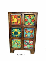 Ceramic 6 Pottery Drawer Sq Wooden Box