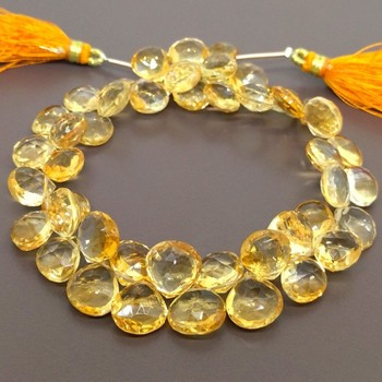 Natural Citrine Faceted Heart Shape Briolette Strands