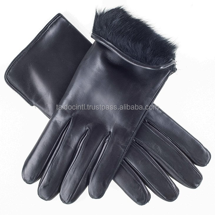 Ladies' Rabbit Lined Black Leather Gloves/ Best quality by taidoc